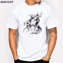 KOMNUDT Wolf Howling Design Men T-Shirt Short Sleeve Casual Tops Hipster Plus Size Printed Male Fashion T Shirts Cool Basic Tee(China)