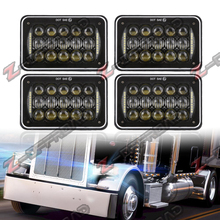 "4pcs 4x6"" LED Square Truck Headlight with DRL Head lamp 4x6Inch Truck Projector Daymaker Replacement Lamp with Hi/Lo Beam Lights(China)"