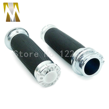 "Silver High Quality Motorcycle 1"" 25mm Aluminum CNC Deep Cut Handle Bar Hand Cross Grips For Harley"