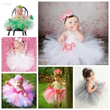 "Multicolor Baby Dress Infant Girls Crochet Cheap Tulle Dress Ballet Tutu with 4"" Daisy Flower Newborn Birthday Party Dress 1Pcs"