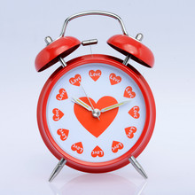 "Free Shipping 4"" Fashion Red Heart Table Decor Quartz Loud Alarm Clock Non-ticking Double Bell for Home Valentine's Day Gift"