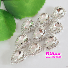 1pcs/Lot Sew on Rhinestone Applique Glass Crystal Clear Silver Base Sewing Rhinestone Chain For Wedding Dress Decoration B1637(China)