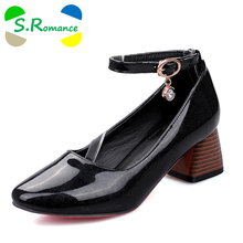S.Romance Women Pumps Plus Size 34-45 Fashion Elegant Round Toe Buckle Strap Sweet Mid Heels Woman Shoes Red Black Gold SH513