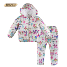 Brand 2017 Winter Girls Clothing Sets Cartoon Animal Graffiti Baby Girl Clothes Set Casual Thick Snowsuit Cute Kids Warm Suits