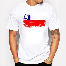 t-shirt men print 2017 Chile National Flag Cotton Men/Boy Short sleeve White T-shirts Nostalgic Fashion Style Swag Tops tee