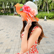 Flowers Foldable Hat Female Summer Beach Hat Large Brim Sun Hat Leisure Empty Top Summer Hat(China)