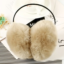 2017 Women Faux Rabbit Fur Earmuffs Girls Cute Plush Fluffy Ear Warm Muffs Lady Earlap Earmuffs Winter Thermal Ear Cover(China)