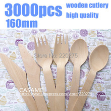 3000pcs disposable cutlery Wooden Cutlery Set Picnic Cutlery Sets Natural party lovely Wood Dessert Table Forks spoon wood(China)