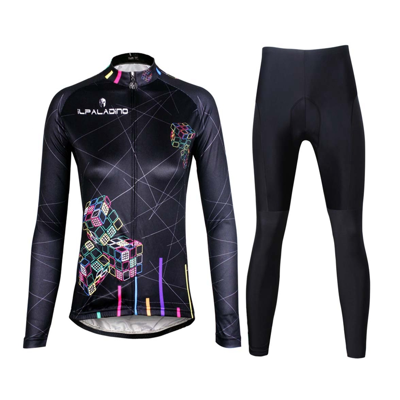 ILPALADINO Bike jersey pants Sets Long Sleeve Women Pro Cycling clothing Suits Ropa Ciclismo Black Cube Girls Winter MTB Wear<br>