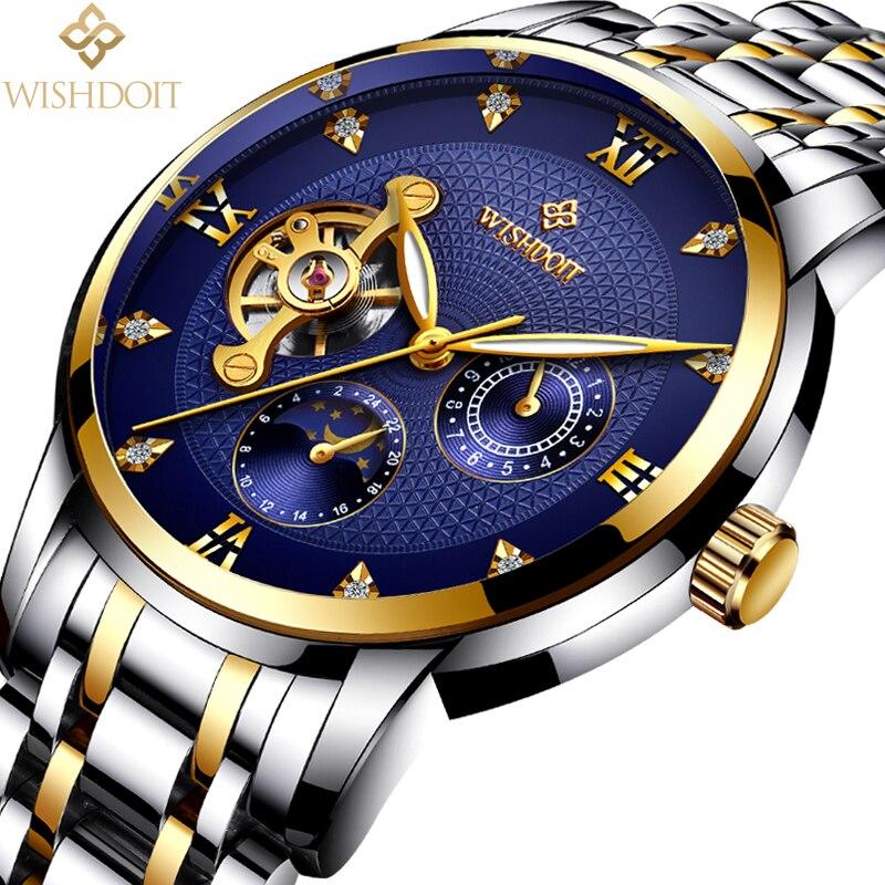 WISHDOIT Men Mechanical Watchs Sports Business Waterproof Casual Fashion Steel Mens Watch Military  Male Clock Top Luxury Brand <br>
