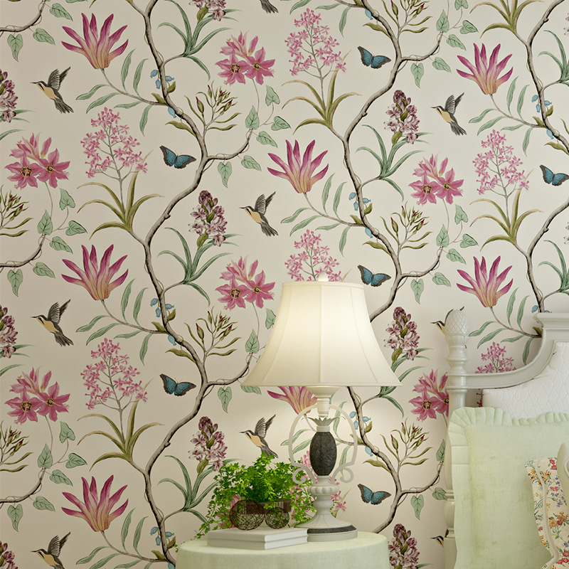 Beibehang American style bedroom wallpaper modern retro pink flower wallpaper blue tropical butterfly bird wallpaper-roll-size<br>