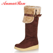 ANMAIRON New Arrival  Wholesale Women's Snow Boots Winter Boots Knee-High Flats Nubuck Leather Long Boots Round Toe Flock Boots