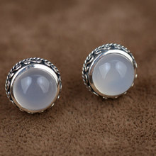 925 Silver Round Stud Earring GZ Natural White Chalcedony Earrings for Women S925 Sterling Silver boucle d'oreille