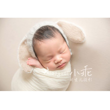 Mohair newborn baby easter rabbit hat photography props hat baby crochet bunny bonnet baby photo accessories(China)