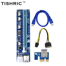 10pcs TISHRIC VER008C Molex 6 pin PCI-E PCIE Express 1X to 16X Riser Card Extender 60cm USB3.0 Cable For Mining Bitcoin Miner(China)