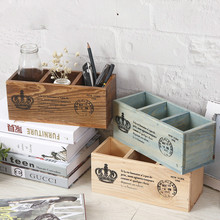 Creative Old Wooden Desk Home Office Storage Box Multi-purpose Pen Container Filing Document Sundries Storage Box