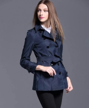 2018 New Winter British Trench Coat Women Classic Designer Short Double Breasted Trench Coat With Belt High Quality(China)