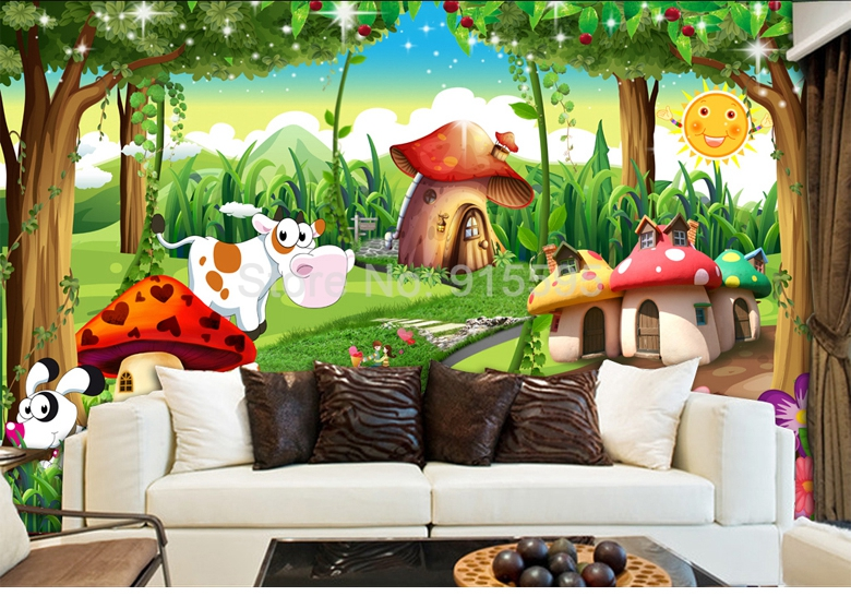 HTB1p.oPnrsTMeJjy1zcq6xAgXXaA - Custom 3D Photo Wallpaper Children Room Bedroom Cartoon Forest House Background Decoration Painting Wall Mural Papel De Parede