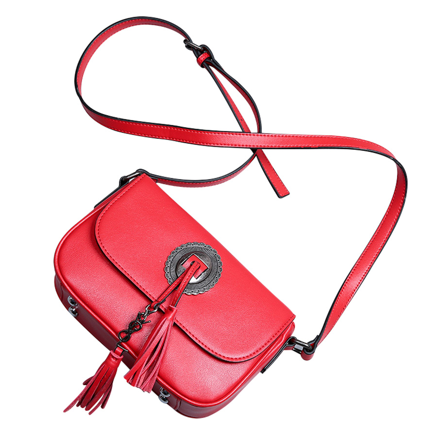 Fashion Genuine Leather Woman Messenger Bags Snake Lock Ladies Shoulder Bag Tassel Handbag Crossbody Bag<br>