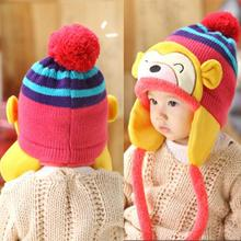 Hot Sales Cartoon Monkey Pattern Cute Kids Baby Crochet Beanie Earflap Hat Cap 6M-2Y X5