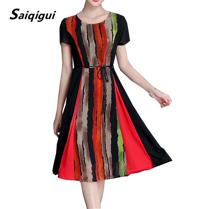Saiqigui 2017 Summer dress Short sleeve women dress chiffon dress Striped o-neck temperament work vestidos de festa plus size