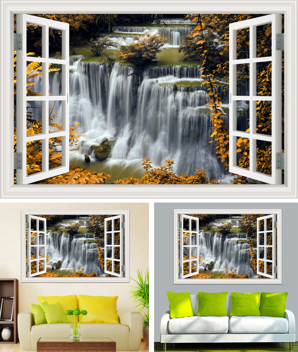 HTB1p.rUcRLN8KJjSZFPq6xoLXXaC - Waterfall 3D Window View Wallpaper Nature Landscape Wall Decals for Living Room