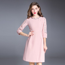 Pink black fashion nice 3/4 sleeve embroidery women dress o-neeck elegant fashion evening party club female dress(China)