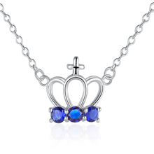 Three Colrs Crystal Crown Pendant Charm Necklace  925 sterling silver Womens New Jewelry gift  Pouch  Free