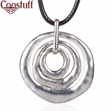 woman jewelry statement necklaces & pendants Silver Circles pendant Long necklace for women christmas gift collares mujer(China)