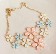 2017 Big Flower Necklace Cute Candy Color Hot Style Statement Necklaces & Pendant For Women Fashion Bling