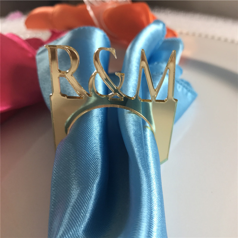 50pcs Personalized Wedding Napkin Rings Custom WoodAcrylic Table Napkin Ring Holder Rustic Wedding Christmas Party Table Decor (9)