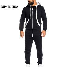 Puimentiua ฤดูใบไม้ร่วง Jumpsuits Patchwork กีฬาผู้ชาย Casual Hooded Tracksuit กับกระเป๋า Overalls pantalon hombre(China)