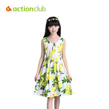 Actionclub Baby Grils Dresses Sleeveless Summer Dress Kids Beach Flower Clothes Princess Dress For Girl Kids robe fille enfant(China)