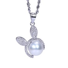 elegant AAA bread shape freshwater pearl pendant necklace sterling-silver-jewelry for Christmas gifts