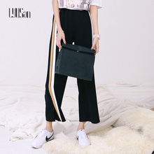 LYUSAN 2017 Spring and Summer Fashion Striped Pants Summer Nine Split Fork Speaker High Waist Wide Leg Loose Loose Casual Pants