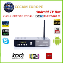 A8 plus DVB S2 DVB-T2-S2 Android Smart TV Box HD Satellite TV Receiver PowerVu Biss key Europa Cccam Wifi Media player iptv