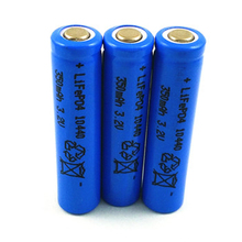 4pcs Lifepo4 3.2v 10440 rechargeable lithium ion battery cell 350MAH AAA SIZE for camera and solar led light(China)