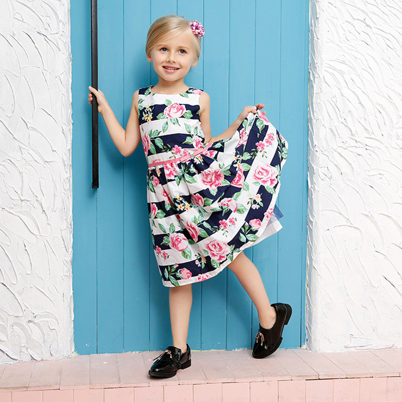 Hot sale! 2017 Summer Style High-grade Girls Brand Dress Cute Baby Girls Print Princess Floral Dress Girls Party Dress For 2-11T<br><br>Aliexpress