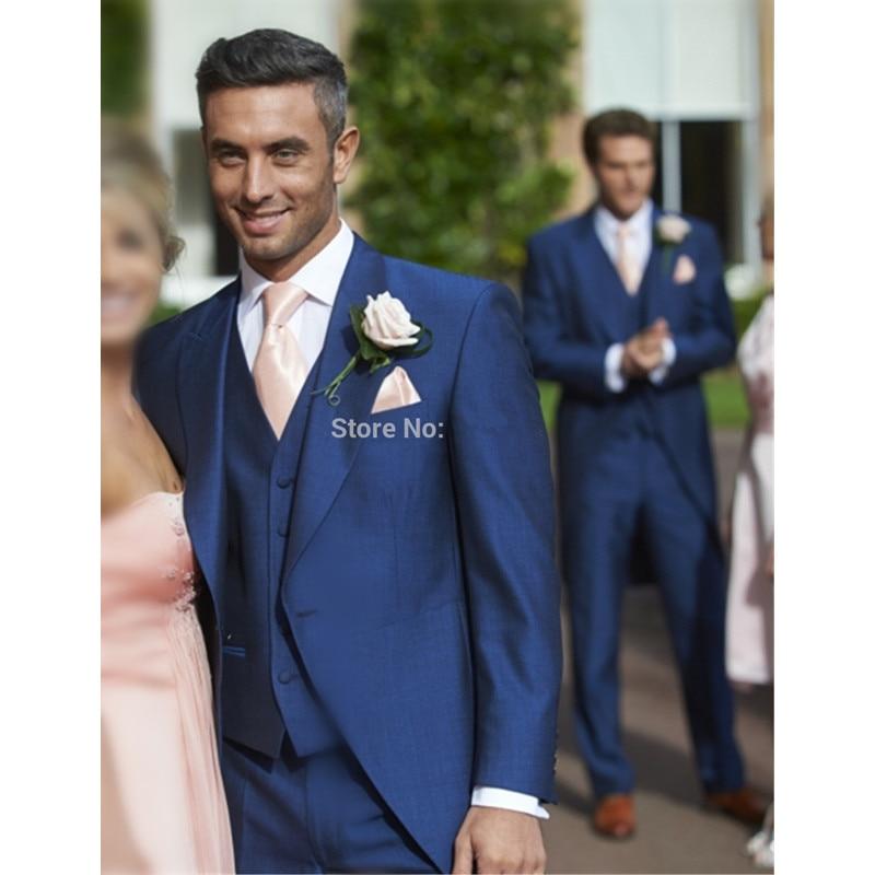 237 Long Tailcoat Wedding Men Suit and Vest Custom Made Royal Blue veste homme Slim Fit mens blazers suits wedding groom