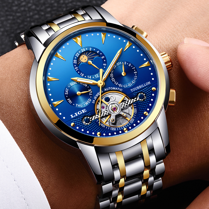 LIGE Sport Watches Mechanical-Watch Luxury Automatic Waterproof Men Full-Steel Relogio title=