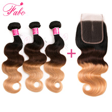 FABC Ombre Brazilian Body Wave Hair Weave 3 Bundles with Lace Closure 1B/4/27# Blonde Color 100% Non-Remy Human Hair Free Ship(China)