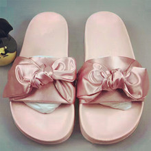 2017 Best selling Summer Women Slides satin butterfly knot decor flat Heels flip flop Casual cosy bowtie Beach Slippers Mujer