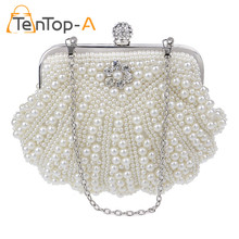 TenTop-A Wholesale Price Bag Women's Imitation Pearl Evening Bags Handmade Shell-Shaped Beaded Clutch Purse Floral Party Handbag