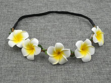 Artificial Plumeria Flowers Headband Foam Frangipani Hair Accessories Green Leaves Stretch Hairband Hawaiian Head Wreath