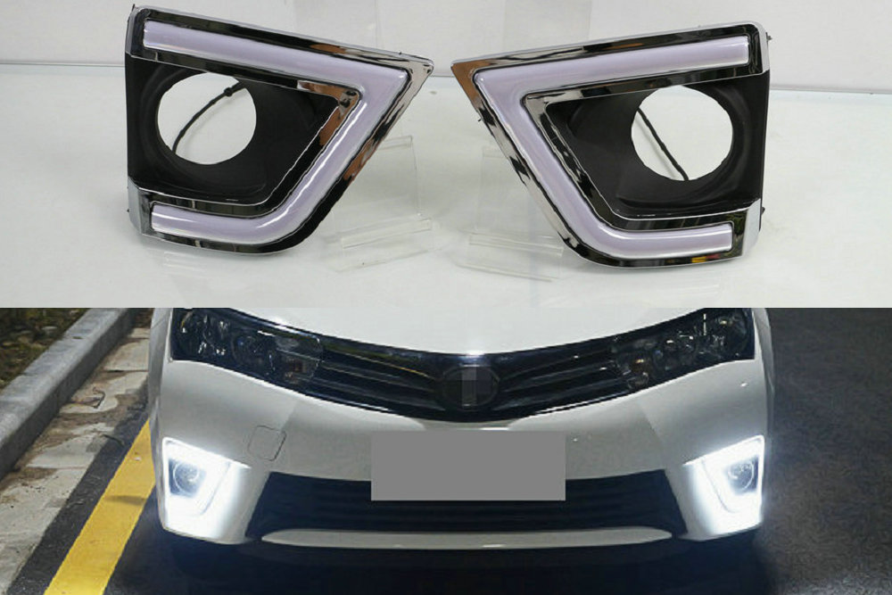 LED Auto DRL Daylight Car Daytime Running Lights White Fog Head Lamp Cover For Toyota Corolla 2014 2015 2016 Yellow Signal Lamp<br>