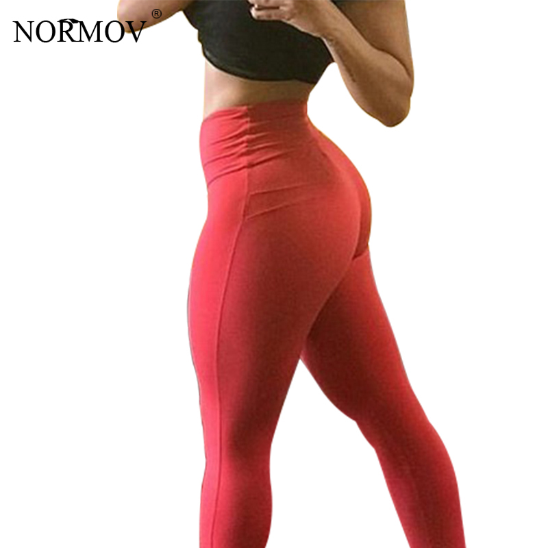 NORMOV Sexy Push Leggings Women Solid Color High Waist Classic Trousers Female Workout Skinny Polyester Black Legging Femme