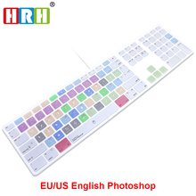 HRH Adobe Photoshop PS Hotkeys Keyboard Cover Skin For Apple Keyboard with Numeric Keypad Wired USB for iMac G6 Desktop PC Wired