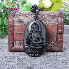 Canifu Big Unique Natural Black Obsidian Carved Chain Buddha Pendant Lucky Amulet Necklace Pendants for Women Men Jewelry(China)