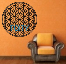 Flower Of Life Sacred Geometry Vinyl Wall Decal Sticker Art Decor Bedroom Design Mural Buddha sacred geometry mandala DIA58cm