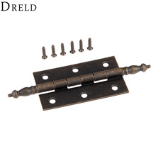 DRELD 1Pc 127*76mm Antique Bronze Crown Head Hinge 6 Holes Jewelry Gift Box Decorative Hinge for Cabinet Furniture Accessories